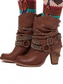 Bottes bout rond strass trapu mi-mollet marron