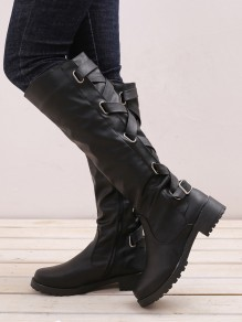 Black Round Toe Chunky Cross Strap Fashion Knee-High Boots