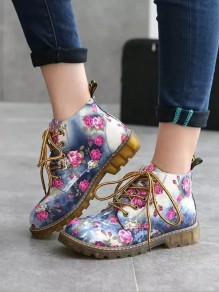 Blue Round Toe Flower Fashion Mid-Calf Boots