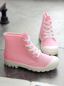 Pink Round Toe Fashion Ankle Rain Boots