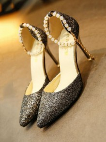 Black Point Toe Stiletto Sequin Pearl Fashion High-Heeled Sandals