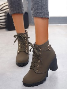 Army Green Round Toe Chunky Cross Strap Fashion Ankle Boots