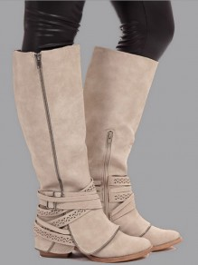 Beige Round Toe Zipper Fashion Over-The-Knee Boots