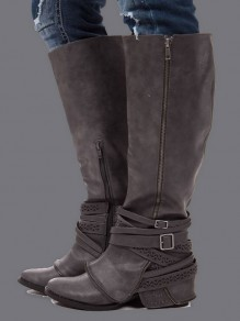Dark Grey Round Toe Zipper Fashion Over-The-Knee Boots