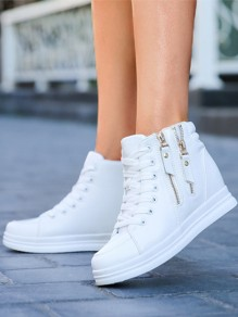 White Round Toe Zipper Lace-up Fashion Ankle Shoes