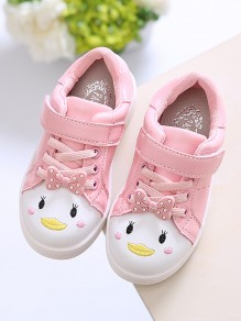 Pink Round Toe Bow Cute Baby Shoes