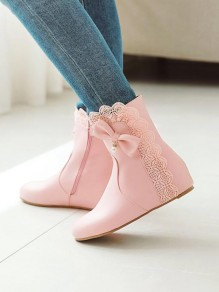 Pink Round Toe Bow Pearl Lace Fashion Ankle Boots