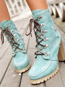 Green Round Toe Rivet Fashion Ankle Boots