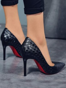 Black Point Toe Stiletto Plaid Print Fashion High-Heeled Shoes