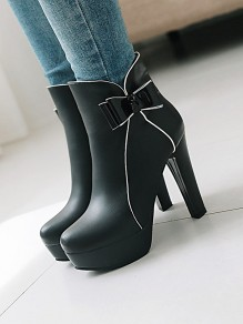 Black Round Toe Chunky Bow Sweet Ankle Boots
