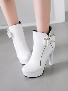 White Round Toe Chunky Bow Sweet Ankle Boots