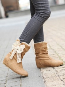Yellow Round Toe Bow Fashion Mid-Calf Boots