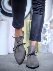 Grey Point Toe Lace-up Fashion Ankle Shoes