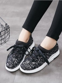 Black Round Toe Sequin Lace-up Casual Ankle Shoes