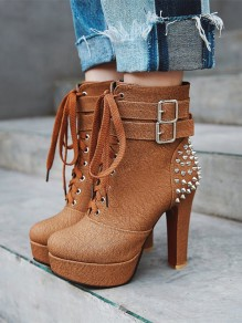 Brown Round Toe Rivet Lace-up Fashion Ankle Boots