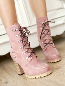 Pink Round Toe Chunky Rivet Lace-up Fashion Martin Boots