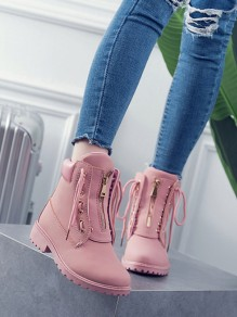 Pink Round Toe Zipper Lace-up Fashion Boots