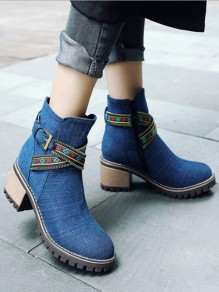 Dark Blue Round Toe Belt Buckle Zipper Fashion Ankle Shoes