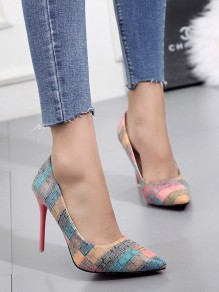 Multicolor Point Toe Stiletto Fashion Ankle Shoes