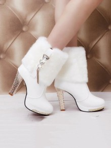 White Round Toe Chunky Rhinestone Faux Fur Patchwork Fashion Ankle Boots