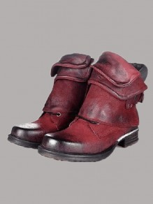Bottes bout rond mode cheville rouge