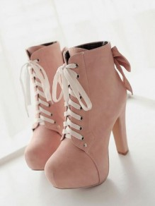 Pink Round Toe Chunky Bow Cross Strap Fashion Ankle Boots