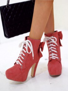 Red Round Toe Chunky Bow Cross Strap Fashion Ankle Boots