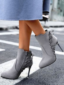 Grey Point Toe Stiletto Cross Strap Fashion Ankle Boots