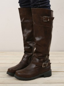 Dark Brown Round Toe Chunky Buckle Fashion Knee-High Boots