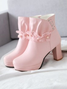 Pink Round Toe Rhinestone Lace Ankle Boots
