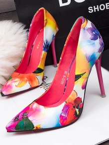 Pink Point Toe Stiletto Print Fashion High-Heeled Shoes