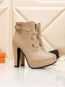 Apricot Round Toe Chunky Cross Strap Fashion Ankle Boots