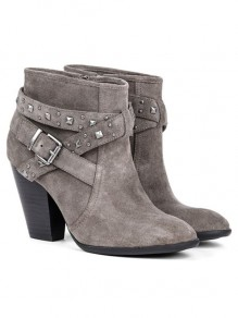 Grey Round Toe Rivet Fashion Ankle Boots