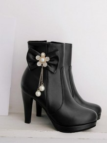 Black Round Toe Stiletto Bow Pearl Fashion Ankle Boots
