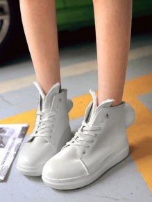 White Round Toe Flat Faux Fur Fashion Ankle Boots