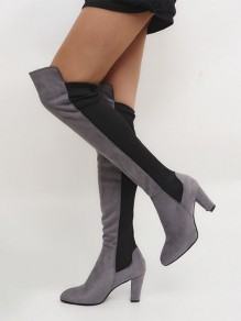 Grey And Black Point Toe Chunky Knee-High Boots