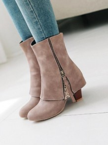 Apricot Round Toe Chunky Zipper Patchwork Fashion Ankle Boots