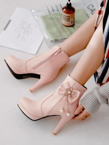 Pink Round Toe Stiletto Bow Pearl Fashion Ankle Boots