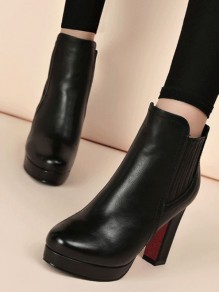 Black Round Toe Chunky Patchwork Fashion Ankle Boots
