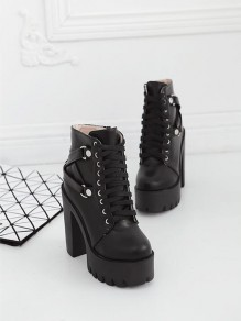 Black Round Toe Chunky Buttons Cross Strap Fashion Ankle Boots