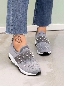 Grey Round Toe Rhinestone Pearl Fashion Ankle Shoes