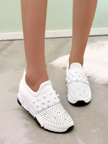 White Round Toe Rhinestone Pearl Fashion Ankle Shoes