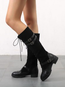 Black Round Toe Lace-up Buckle Fashion Mid-Calf Boots