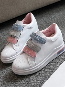 Pink Round Toe Flat Velcro Fashion Ankle Shoes