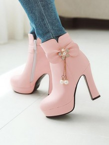 Pink Round Toe Chunky Bow Sequin Pearl Fashion Ankle Boots