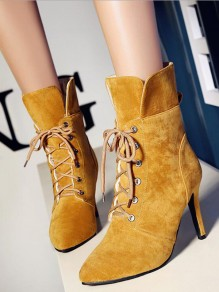 Yellow Point Toe Stiletto Fashion Ankle Boots