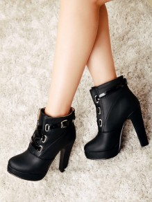 Black Round Toe Lace-up Chunky Fashion Boots