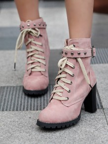 Pink Round Toe Rivet Lace-up Chunky Fashion Boots