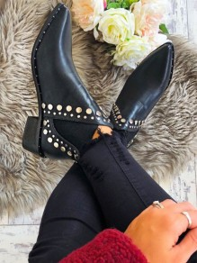 Black Point Toe Rivet Fashion Ankle Boots