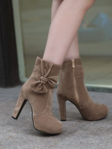 Coffee Round Toe Chunky Bow Fashion Ankle Boots